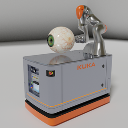 KUKA iiwa articulated arm robot on a self-propelled robot platform.