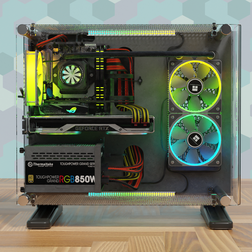 Thumbnail image for Mini ITX PC Honeycomb. In A Shortened Thermaltake P3 Housing.