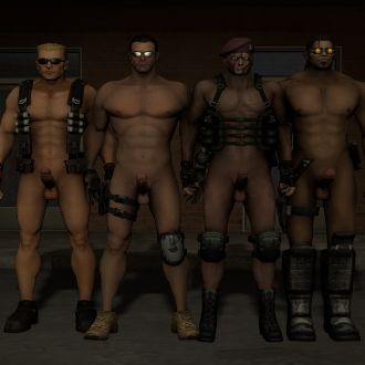 Thumbnail image for Macho men pack. Nude Duke Nukem, Blade, Serious Sam, and Jack Krauser