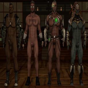 Thumbnail image for Nude Mortal Kombat X male models. Johnny Cage, Jax, Kano, and Kotal Kahn