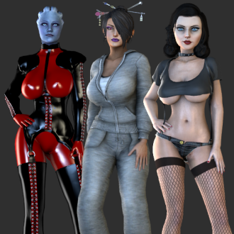 Thumbnail image for Curvy Outfits Pack 1 - Dominatrix, Casual Sweats, Tramp