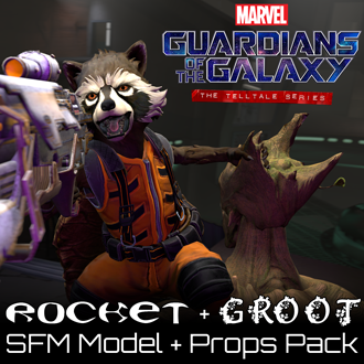 Thumbnail image for Guardians of the Galaxy - Rocket & Groot (Models & Props Pack)