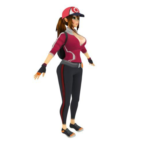 Thumbnail image for [Pokemon Go] Trainer Girl, with different outfits; nude, clothed, semi nude... complete model(s) with rig. (.blend .fbx and SFM)