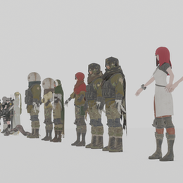 NieR automata NPC. YoRHa units, Resistances members, Commander, Anemone, Popola & Devola, Strange Man & Strange Woman and Pascal.