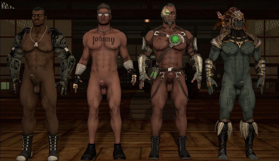 Nude Mortal Kombat X male models. Johnny Cage, Jax, Kano, and Kotal Kahn