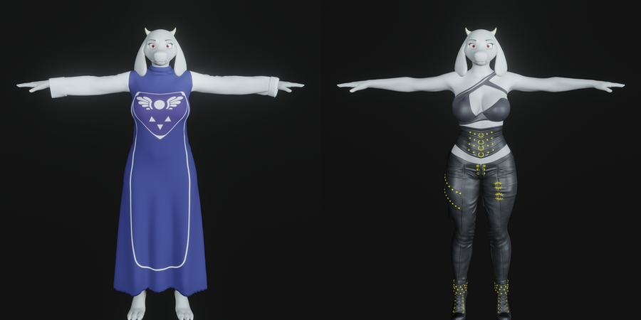 Toriel rigged with clothes