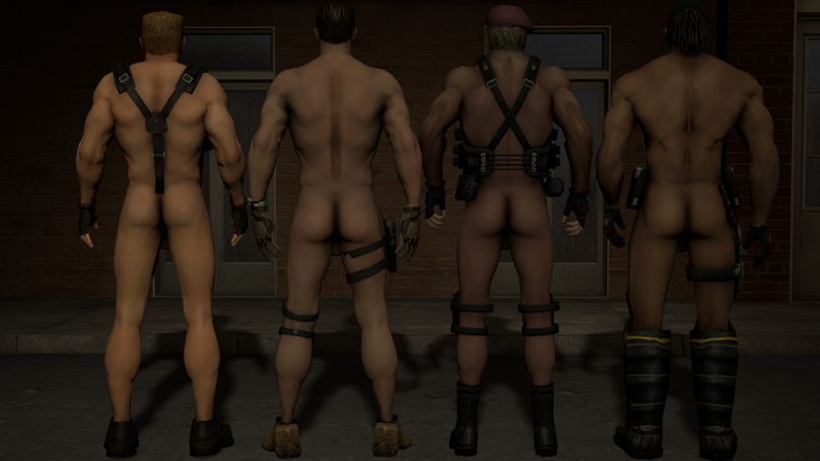 Macho men pack. Nude Duke Nukem, Blade, Serious Sam, and Jack Krauser