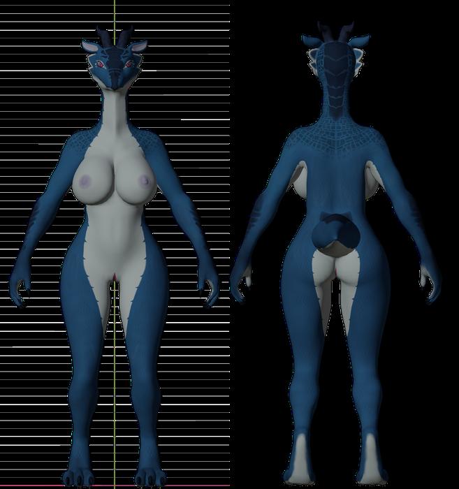 Blue Anthro Dragon