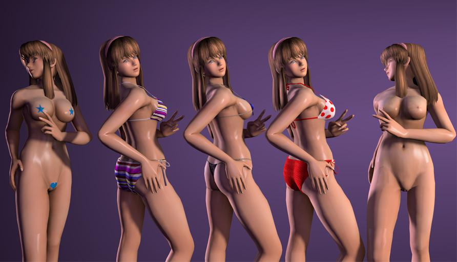 Hitomi - Dead or Alive 4 - 4 Bikinis + Nude