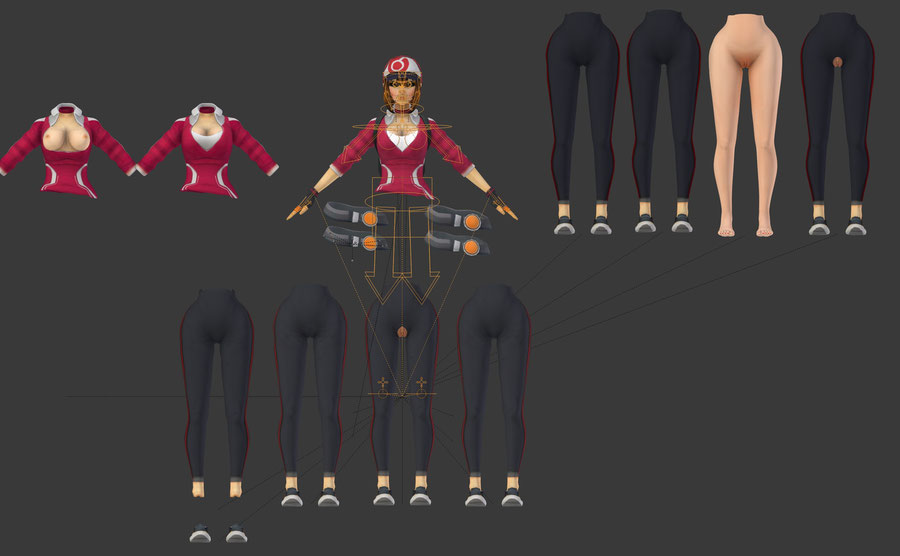 [Pokemon Go] Trainer Girl, with different outfits; nude, clothed, semi nude... complete model with rig.