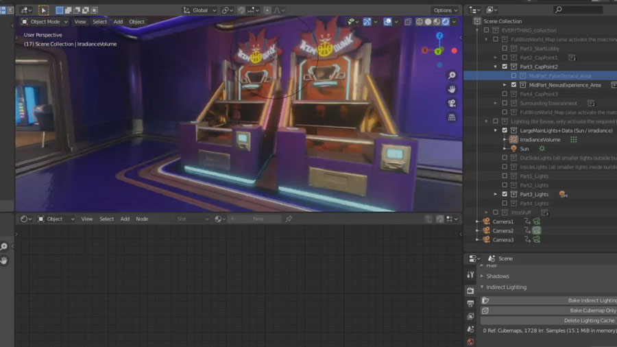 [Overwatch] Complete Blizzard World map ported and setup for Blender 2.82a / Eevee real time.