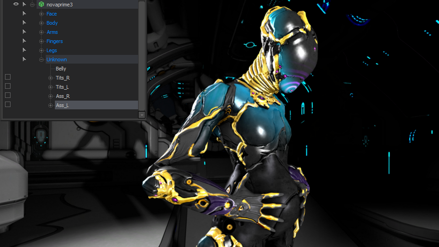 Nova Prime with additionnal controls (Warframe)