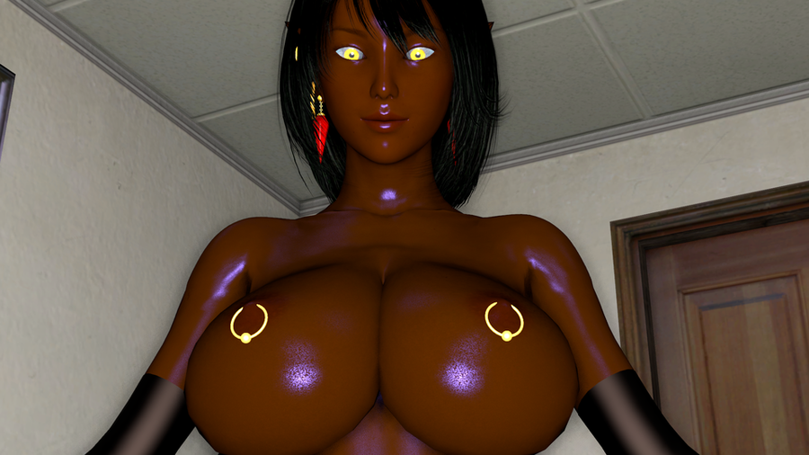Queen Nualia, With Brown skin, Black Hair and clothes