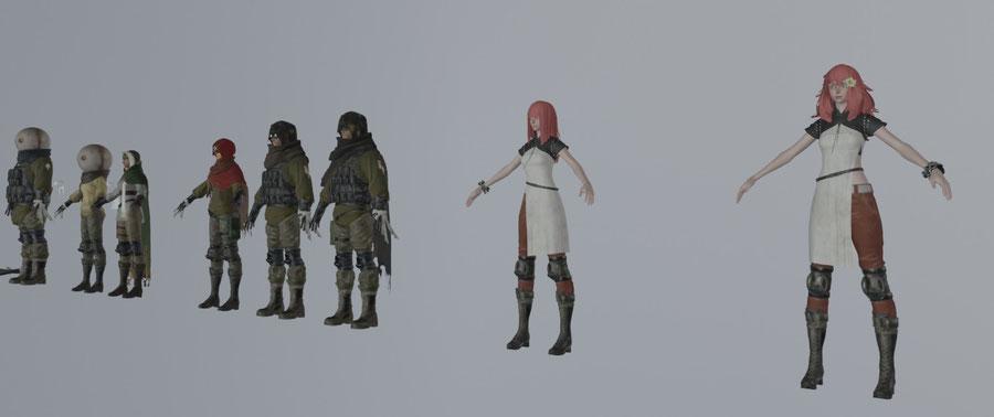 NieR automata NPC. YoRHa units, Resistances members, Commander, Anemone, Popola & Devola, Strange Man & Strange Woman and Pascal.