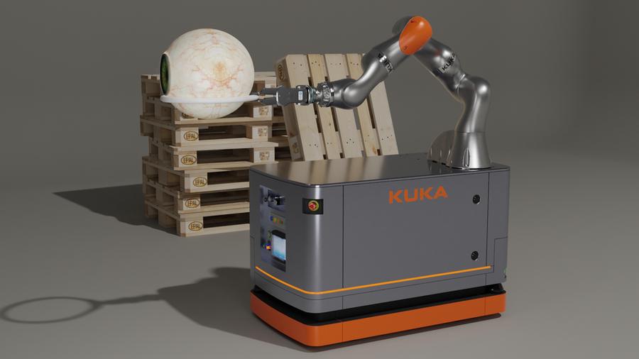 KUKA iiwa articulated arm robot on a self-propelled robot platform.