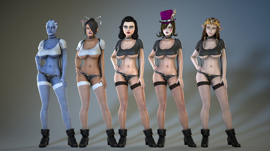 Curvy Outfits Pack 1 - Dominatrix, Casual Sweats, Tramp