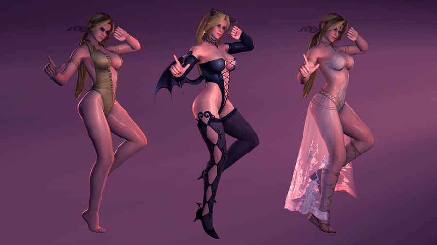 DoA5 - Helena Douglas -  Nude + Succubus, Showstopper, Swimsuit outfits