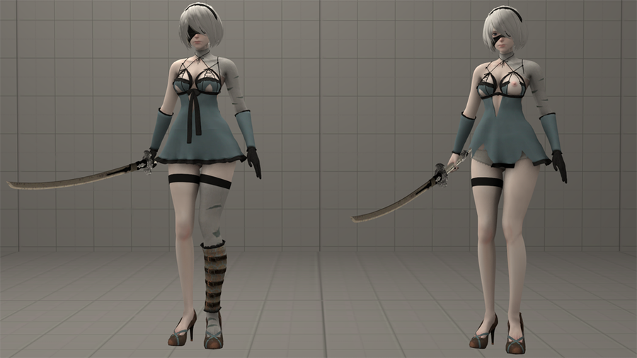 YoRHa 2B V2 (with Kainé's outfit and Vicious Contract sword) - Nier: Automata